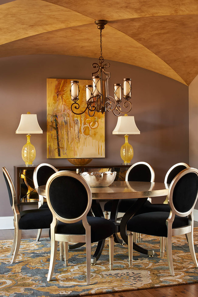 Minka Lavery Dining Room Transitional with Area Rug Buffet Ceiling Treatment Chandelier Dining