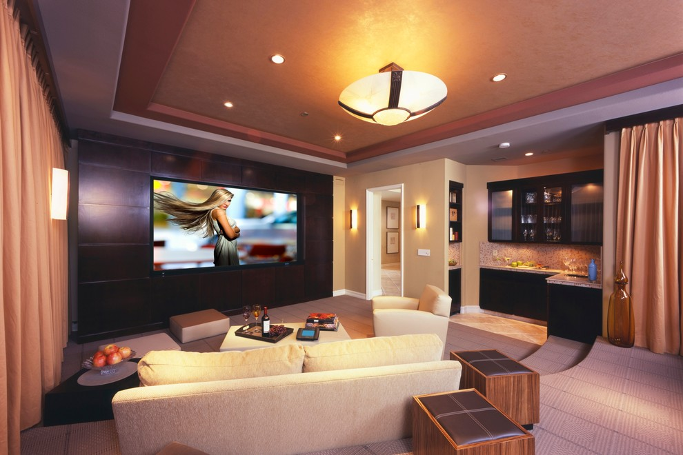 Minka Lavery Home Theater Contemporary with Bar Big Screen Built by Bliss Home
