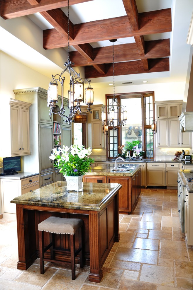 Minka Lavery Kitchen Traditional with Breakfast Bar Chandelier Coffered Ceiling Double Islands