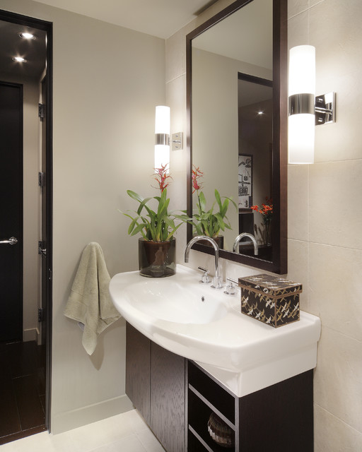 minka lavery lighting Bathroom Contemporary with Bath Accessories container plant contemporary fixtures dark wood cabinets