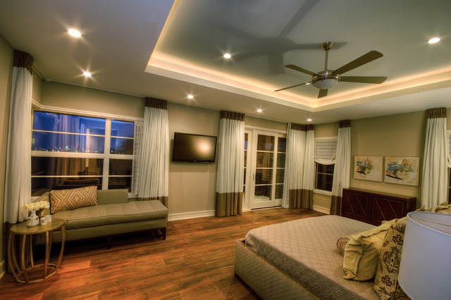 Minka Lighting Bedroom Contemporary with Ceiling Fan Ceiling Lighting Chaise Lounge Cove Lighting Curtains