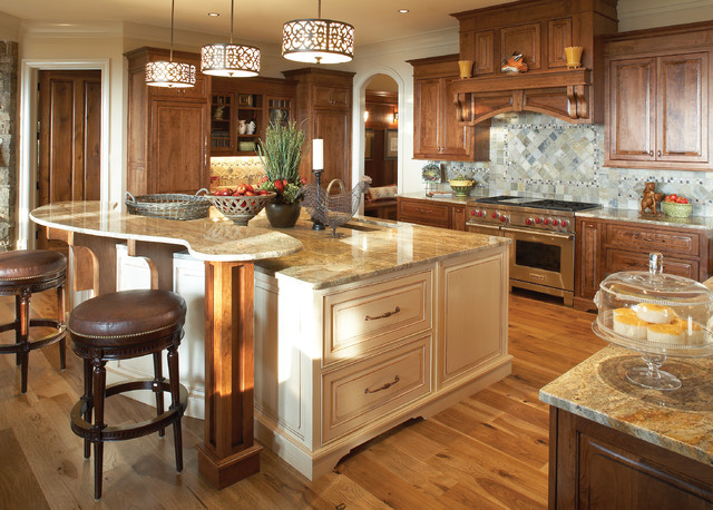 Minka Lighting Kitchen Traditional with Beige Cabinets Brown Leather Bar Stool Drum Pendant Elevated