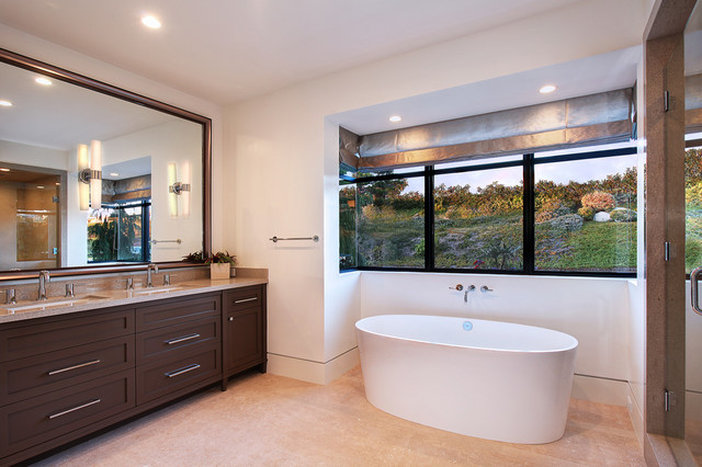 mirabelle faucets Bathroom Contemporary with bathroom casita Custom Cabinetry double vanity draperys freestanding tub