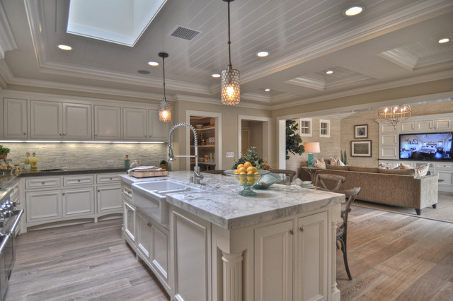 Mirabelle Faucets Kitchen Beach with Apron Sink Beadboard Ceiling Lighting Farmhouse Sink Footed Cabinets