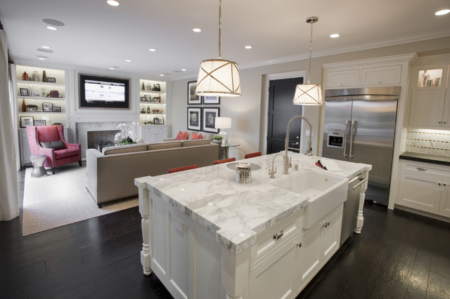 Mirabelle Faucets Kitchen Traditional with Apron Sink Area Rug Ceiling Lighting Couch Counters Dark