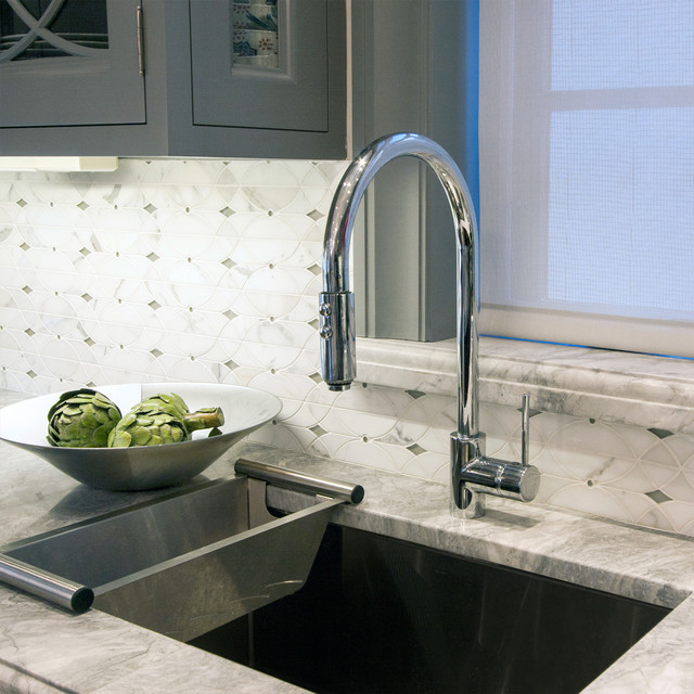 Mirabelle Faucets Kitchen Traditional with Backsplash Cabinets Calcutta Colander Faucet Kitchen Marble Modern Faucet