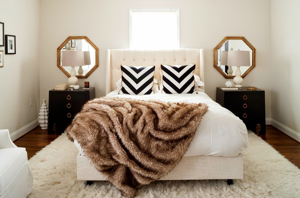 Mirrored Bedside Table Bedroom Transitional with Black and White Chevron Throw Pillows Black