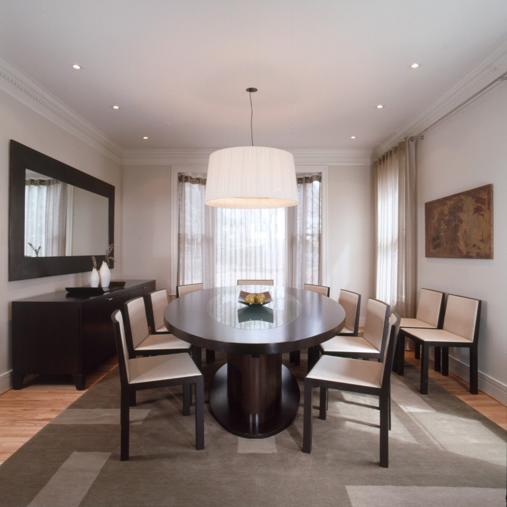 Mirrored Buffet Dining Room Transitional With Dark Wood