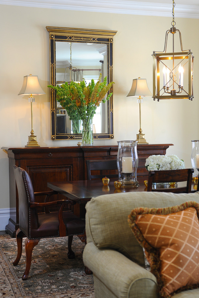 Mirrored Buffet Dining Room Traditional with Apricot Chairs Credenza Floral Arrangement Green Hurricane2