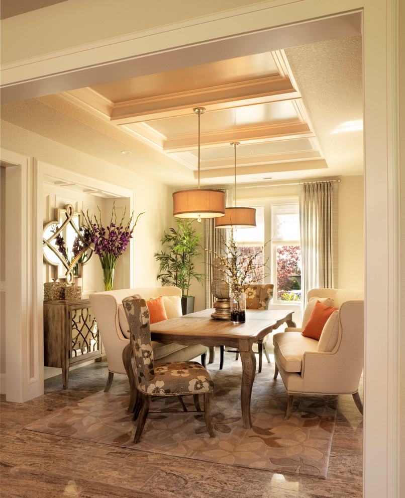 Mirrored Buffet Dining Room Traditional with Buffet Niche Coffered Ceiling Cream Dining Settee1