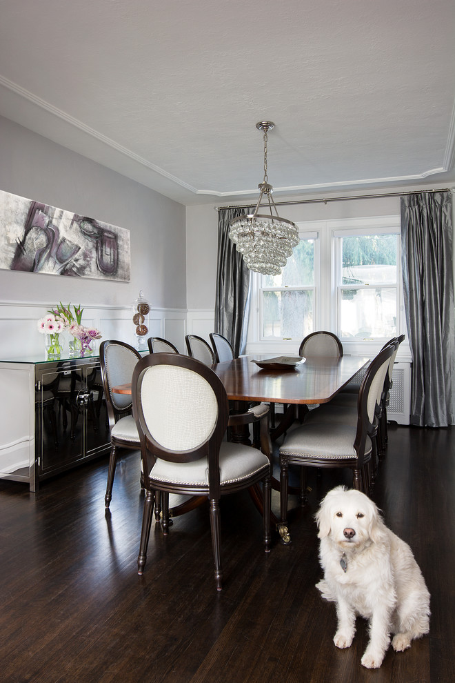 Mirrored Buffet Dining Room Transitional with Beige Dining Chair Bling Chandelier Ceiling Detail