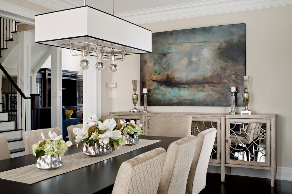 Mirrored Buffet Dining Room Transitional with Beige Dining Chair Beige Wall Column Dark1