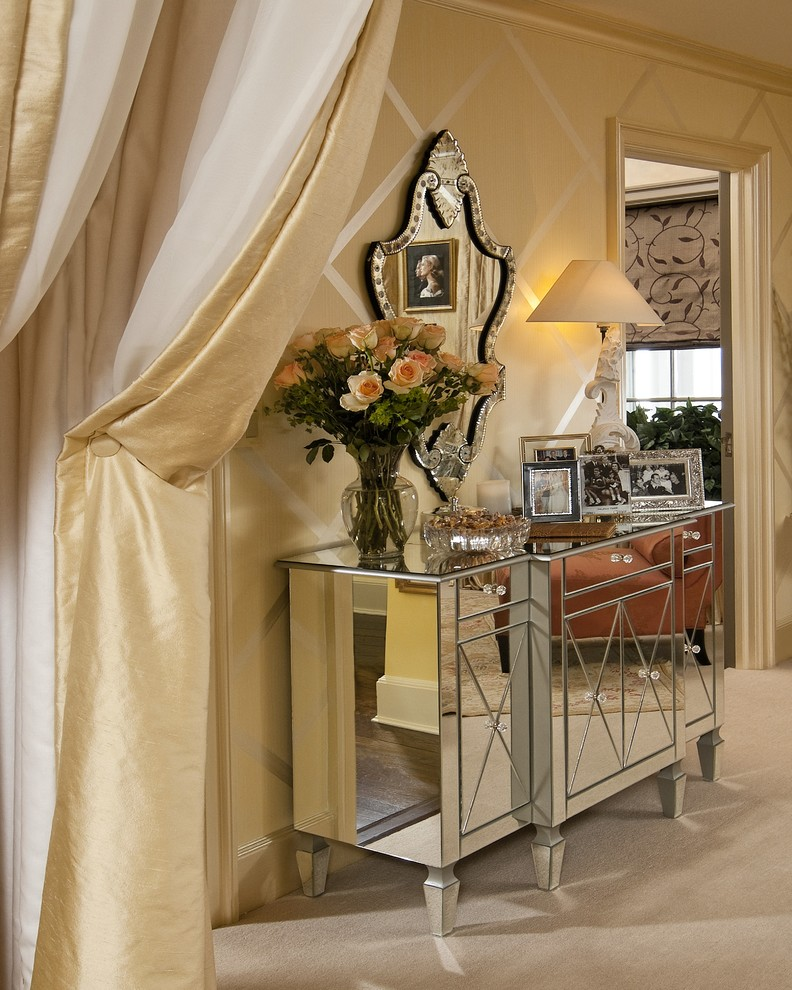 mirrored buffet table bedroom traditional with area rug arm chair carpeting curtain panels1