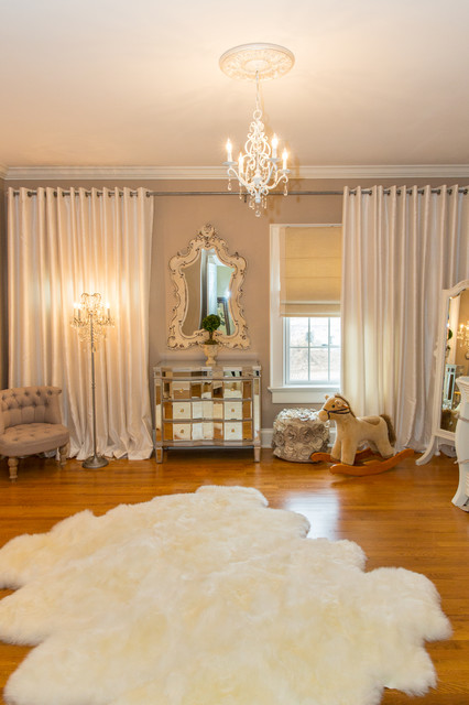 Mirrored Chest of Drawers Nursery Traditional with Animal Hide Rug Bedroom Chandelier Beige Curtains Beige Wall