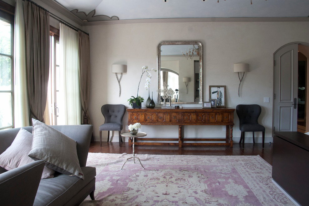 Mirrored Credenza Bedroom Transitional with Antique Rug Arched Doors Beige Wall Brown