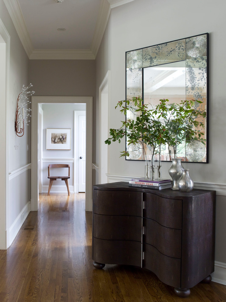 Mirrored Credenza Hall Contemporary with Aspen Ball Feet Baseboard Chair Rail Crown