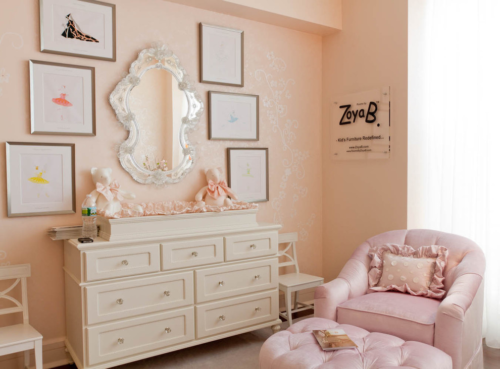 Mirrored Dresser Nursery Shabby Chic with Changing Table Chest of Drawers Crystal Knobs