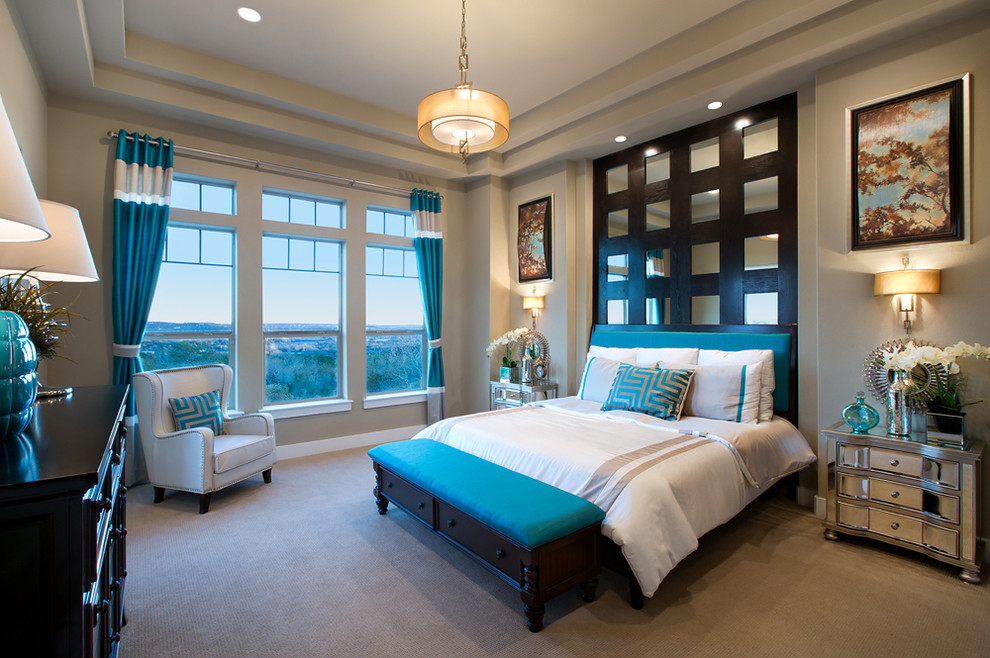 Mirrored Headboard Bedroom Contemporary with Art Blue Drapery Blue Drapes Built in Wall