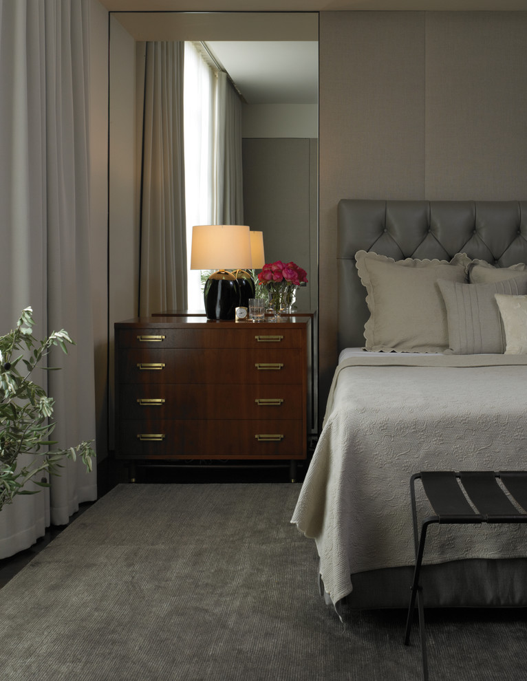 Mirrored Headboard Bedroom Contemporary with Bedside Table Bronze Casual Chic Custom Eclectic
