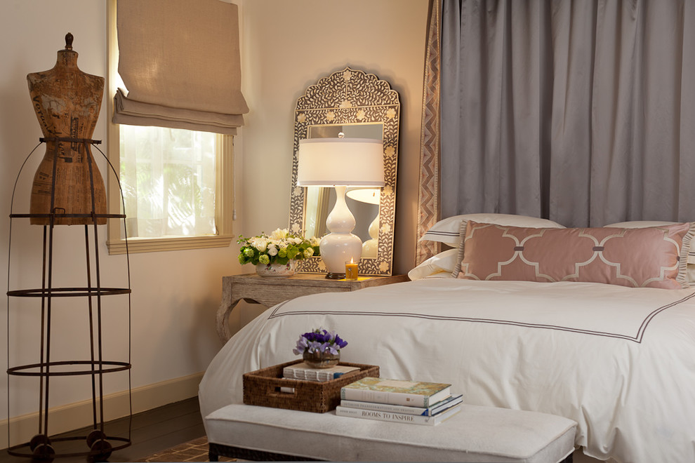 mirrored nightstand Bedroom Mediterranean with baseboards bed canopy bed crown bedside table