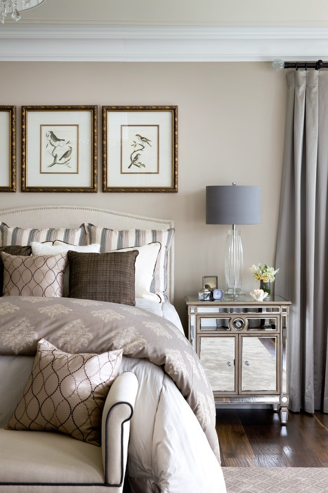 Mirrored Nightstand Bedroom Traditional with Bedroom Bench Crown Molding Mirrored Furniture Nailhead