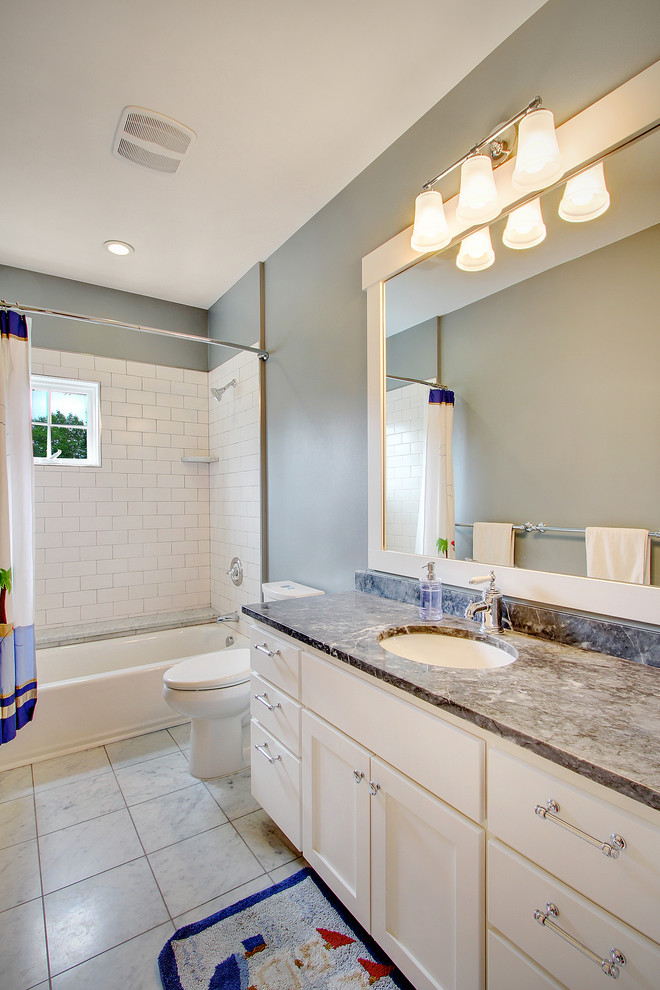 Mirrored Subway Tiles Bathroom Traditional with Chrome Granite Gray Mirror Shower Curtain Single