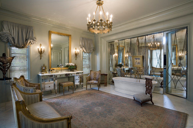 Mirrored Vanity Table Bathroom Traditional with Armchairs Art Deco Brass Chandelier Free Standing Bathtub French Gold
