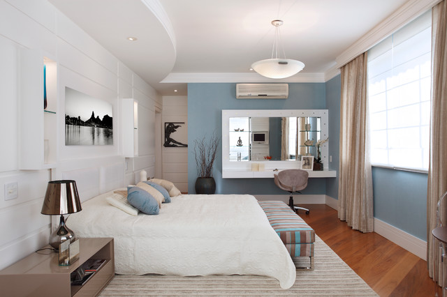 Mirrored Vanity Table Bedroom Contemporary with Bedroom Bedroom Bench Black and White Photography Blue And