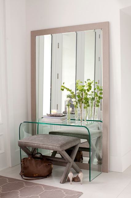 Mirrored Vanity Table Entry Contemporary with Clear Console Table Cool Colors Entry Table Gray Floor