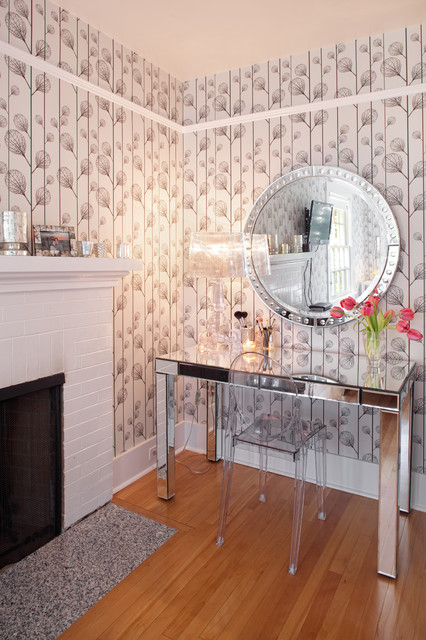 mirrored vanity table Home Office Contemporary with baseboards brick fireplace surround chair rail dressing table floral