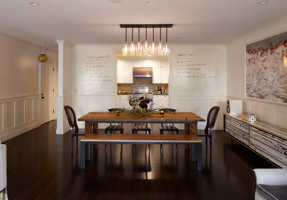 Credenza Dark Wood : Modern credenza dining room eclectic with contemporary artwork