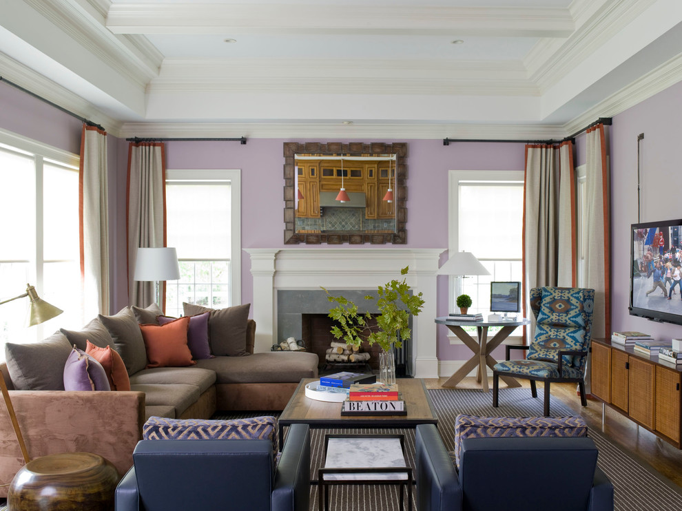 Modern Credenza Family Room Contemporary with Aspen Coffered Ceiling Crown Moldings Dallas Framed