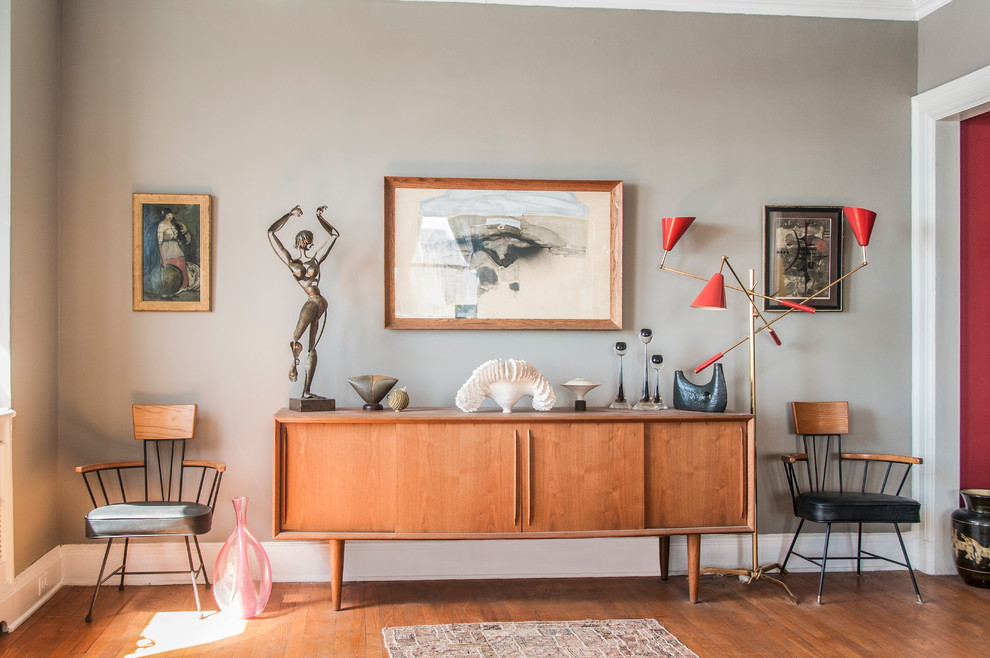 Modern Credenza Living Room Eclectic with Area Rug Arm Chairs Art Collection Artwork