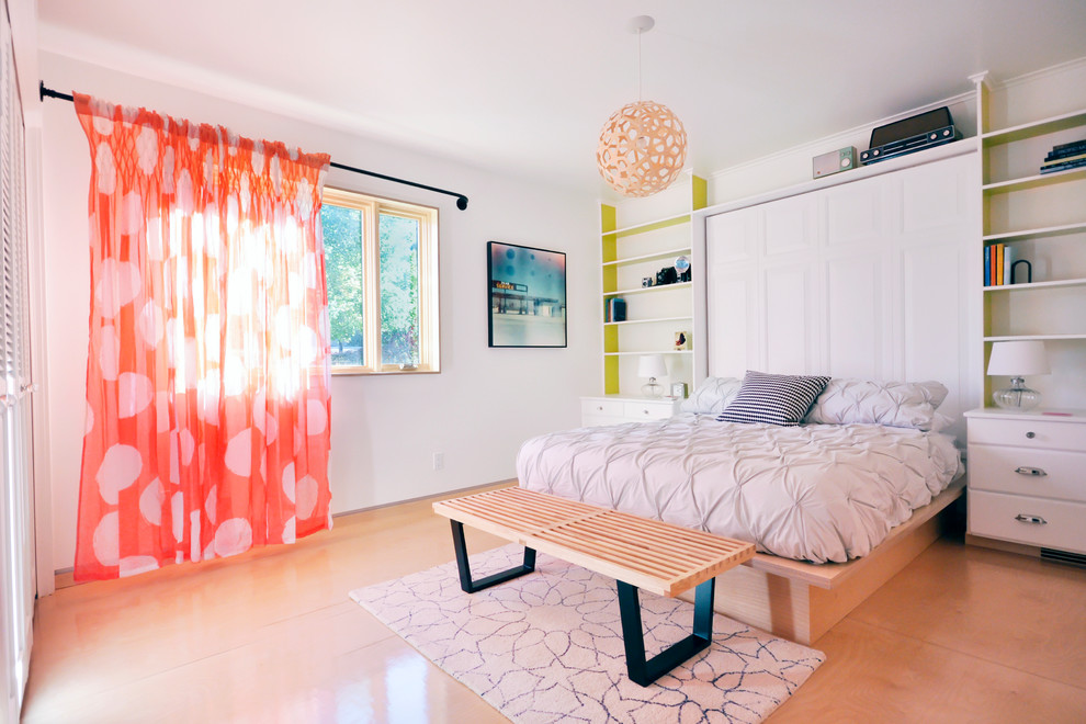 Modern Curtain Rods Bedroom Contemporary with Built in Bookshelves Clean Lines Industrial Pipe