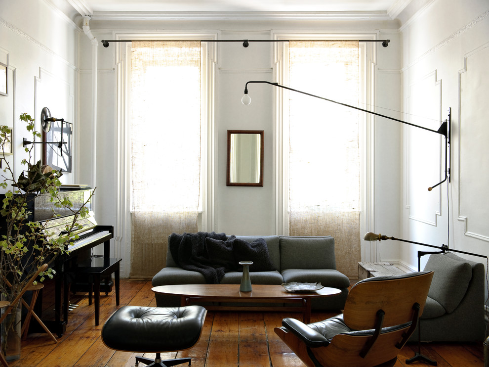 Modern Curtain Rods Living Room Contemporary with Black Armchair Black Ottoman Black Piano Crown