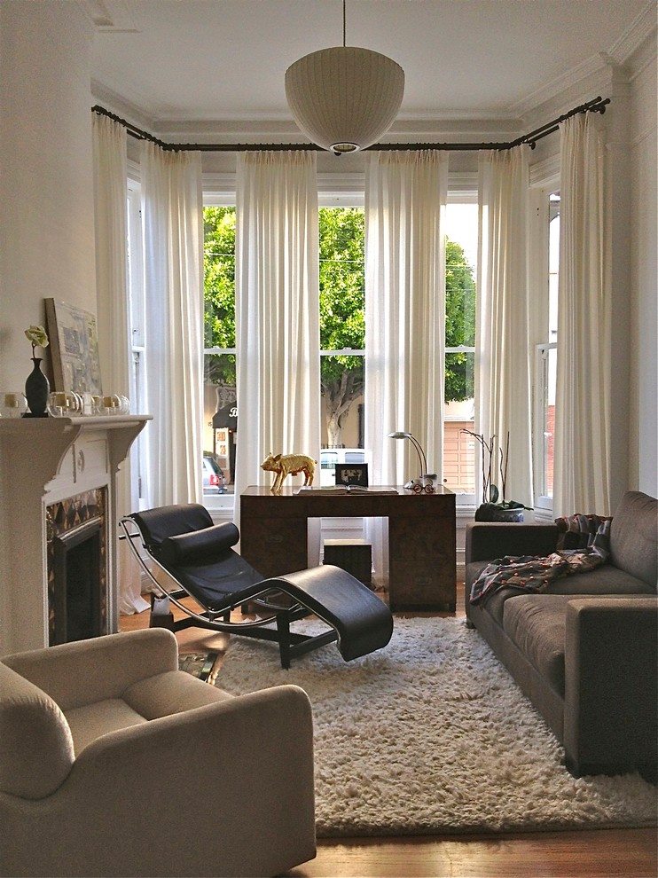 Modern Curtain Rods Living Room Eclectic with Black Leather Lounge Chair Contemporary Desk Drapery