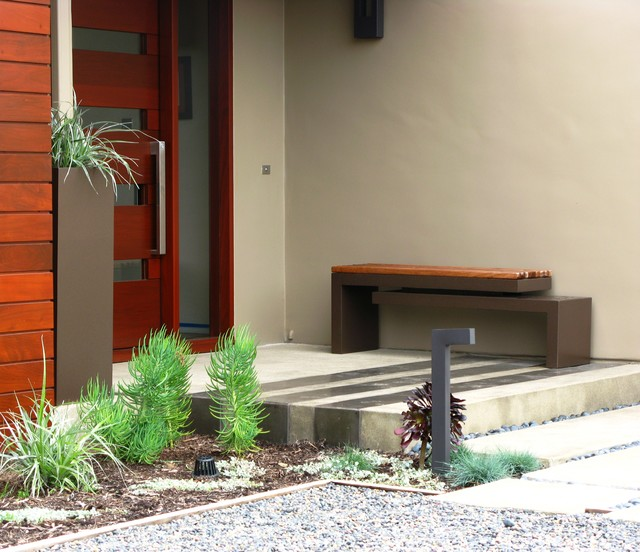 Modern Doorbell Entry Contemporary with Container Plants Entry Bench Front Door Gravel Neutral Colors
