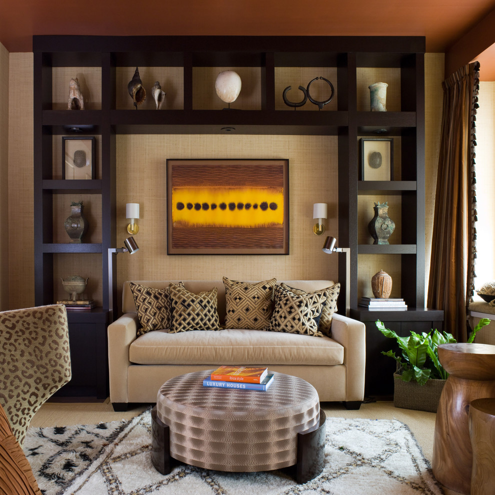 Modern Loveseat Living Room Contemporary with Black Decorative Pillows Display Shelves Geometric Shapes