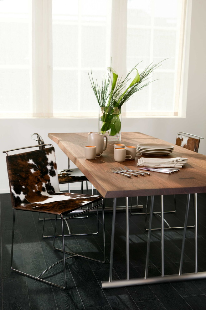 Modern Recliner Chair Dining Room Contemporary with Centerpiece Chrome Cowhide Cowhide Chair Dark Wood1