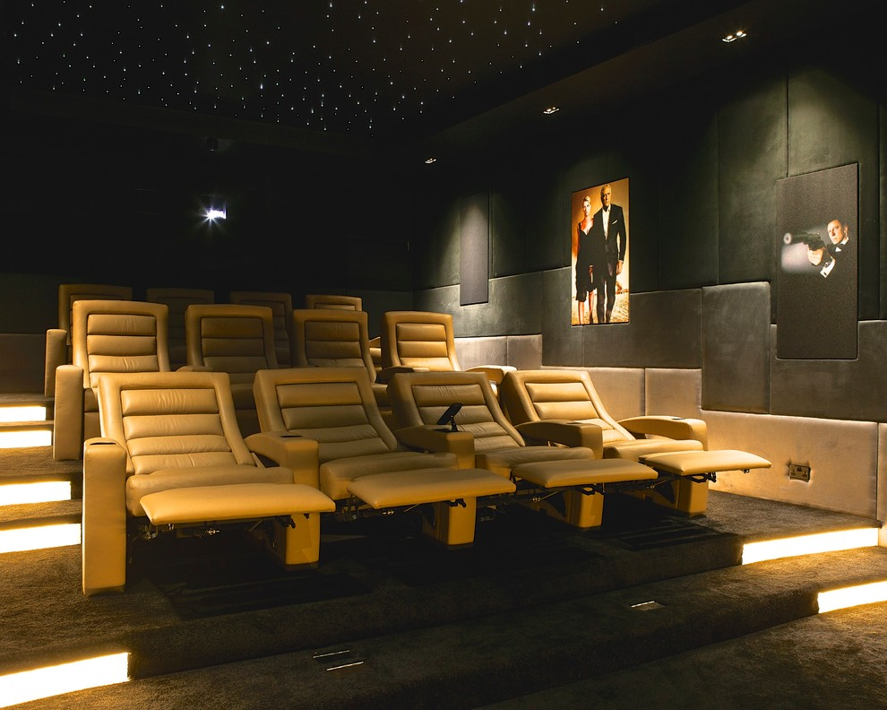 Modern Recliner Chair Home Theater Contemporary with Art Lighting Ceiling Lighting Cinema Chair Floor