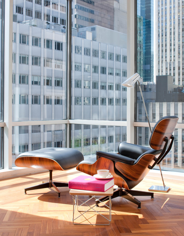 Modern Recliner Chair Living Room Midcentury with Bright City Corner Windows End Table Floor1