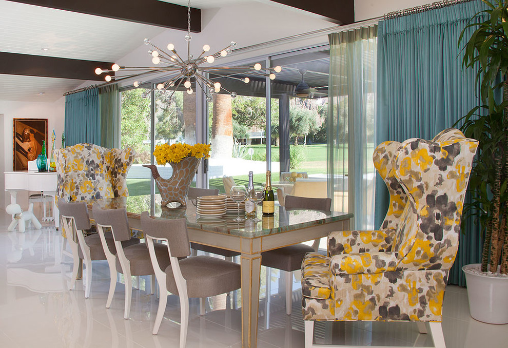 Modern Wingback Chair Dining Room Midcentury with Arthur Elrod Blue Blue Curtains Cabana Canyon