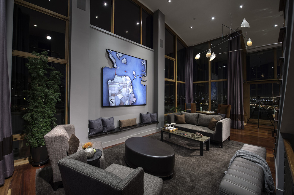 Modern Wingback Chair Living Room Contemporary with Artwork Baseboards Built in Bench Ceiling Lighting Clerestory
