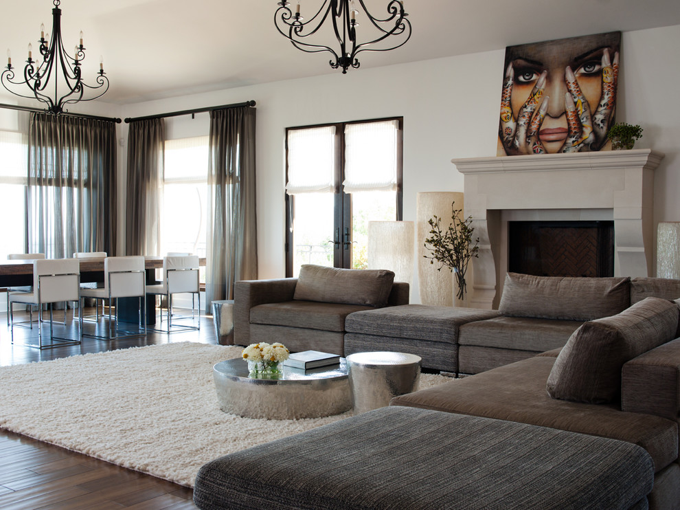 Modular Sectional Sofa Family Room Contemporary with Art Carved Stone Chandelier Dining Area Fireplace