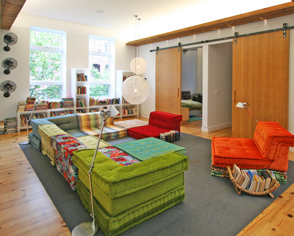 Modular Sectional Sofa Kids Contemporary with Area Rug Barn Door Bookcase Bookshelves Colorful