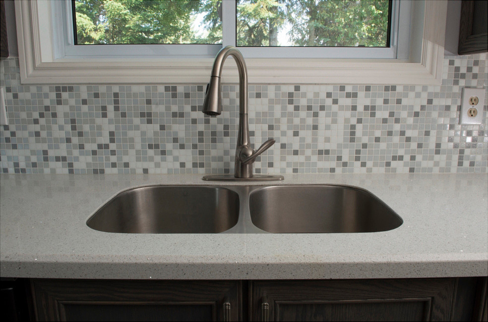 Moen Arbor Kitchen Traditional with Engineered Stone Glass Mosaic Granite Transformations Gray