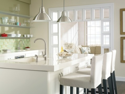 moen arbor Kitchen Transitional with bar faucet bar stools Bright kitchen integrated