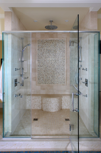 Moen Shower Head Bathroom Contemporary with Beige Bench Seat Chrome Glass Shower Enclosure Mosaic Tile