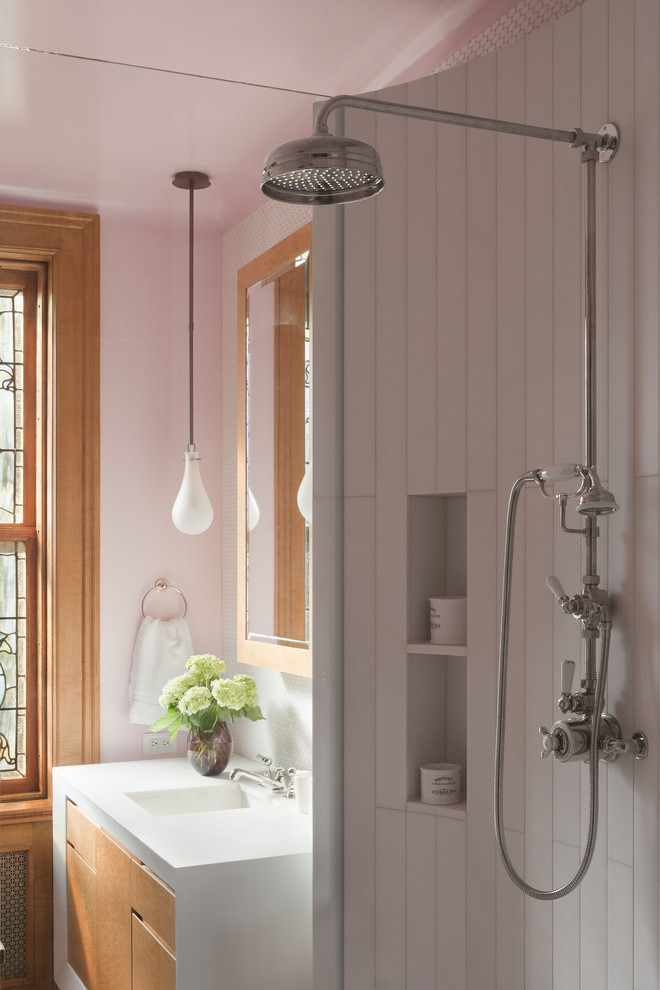 Moen Shower Systems Bathroom Contemporary with Alcove Cubby Flush Cabinet Doors Leaded Windows