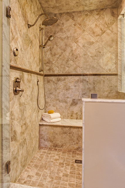 moentrol Bathroom Traditional with brushed nickel fittings Carrara marble frameless glass gray grey